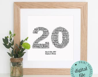 Personalised 20th ANNIVERSARY GIFT - Word Art - 20th Wedding Anniversary - Printable Art - Unique Anniversary gift - Gift for Couple - Print