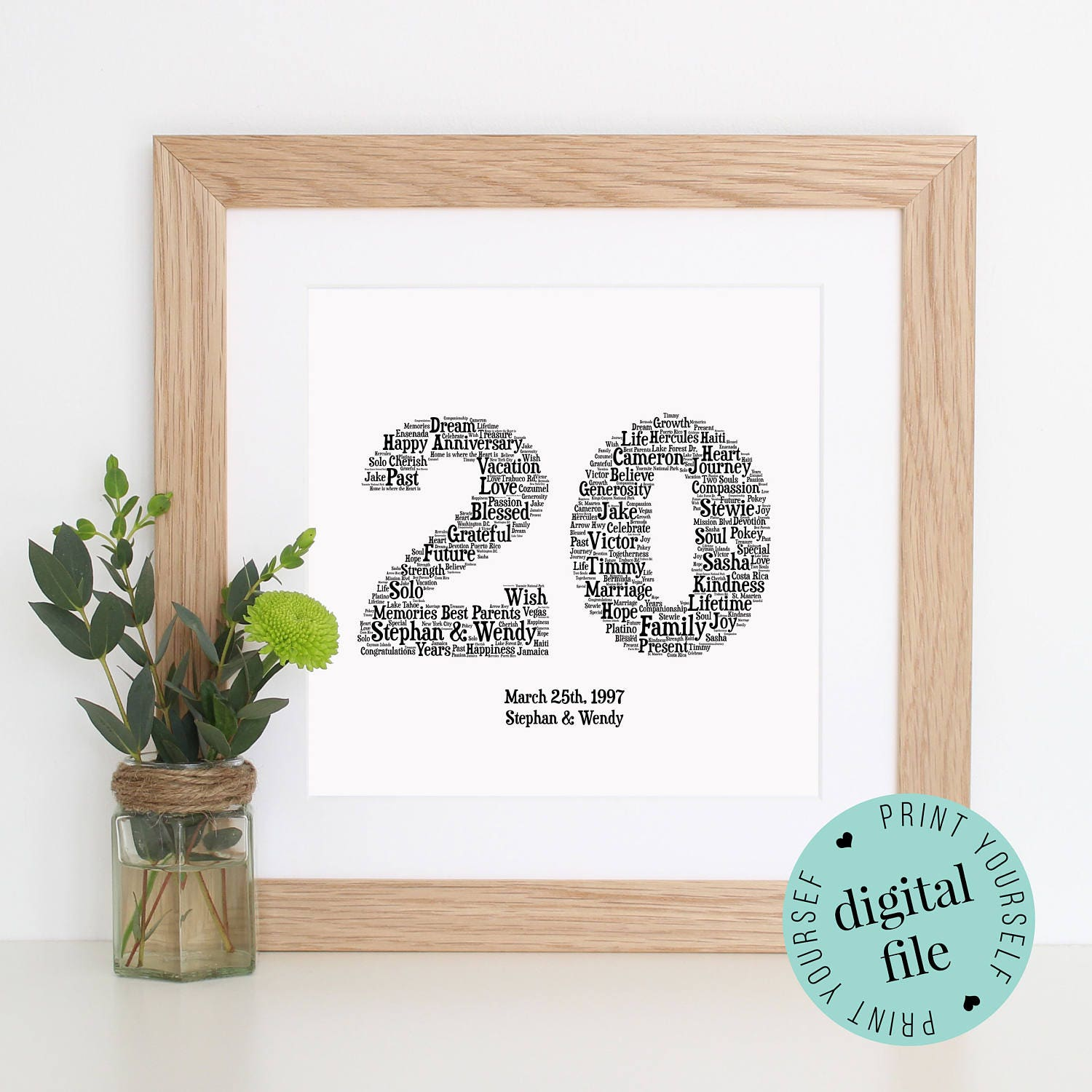 21st Wedding Anniversary Gift Ideas: Personalised 20th ANNIVERSARY GIFT Word Art 20th Wedding