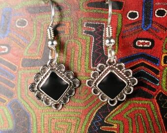 Positive Energy Sterling Silver Onyx Dangle Earrings - Filagree Onyx Dangle Gift Earrings - Sterling Silver Hypo-Allergenic Earring Hooks