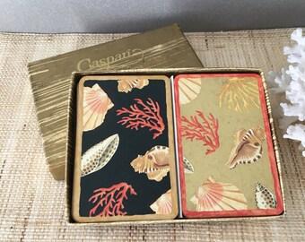 Vintage bridge cards | Caspari playing cards | seashell cards | shell cards | bridge set