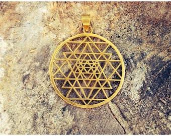 Sri Yantra Pendant Sacred Geometry Pendant Yoga jewelry Sri chakra pendant