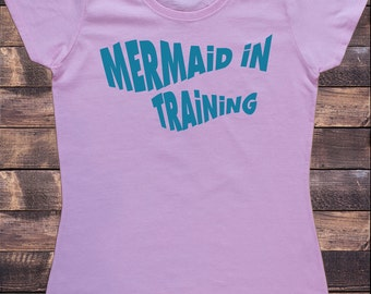 Women's Pink T-Shirt Mermaid In Training- Funny Mermaid Slogan Print TS547