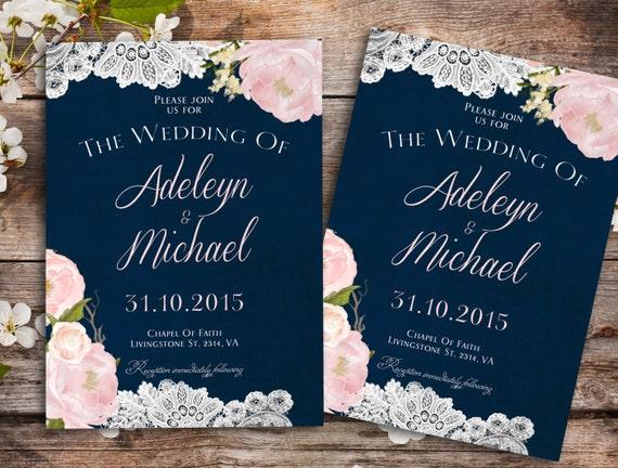 Navy blue blush pink Wedding Invitation Country Wedding