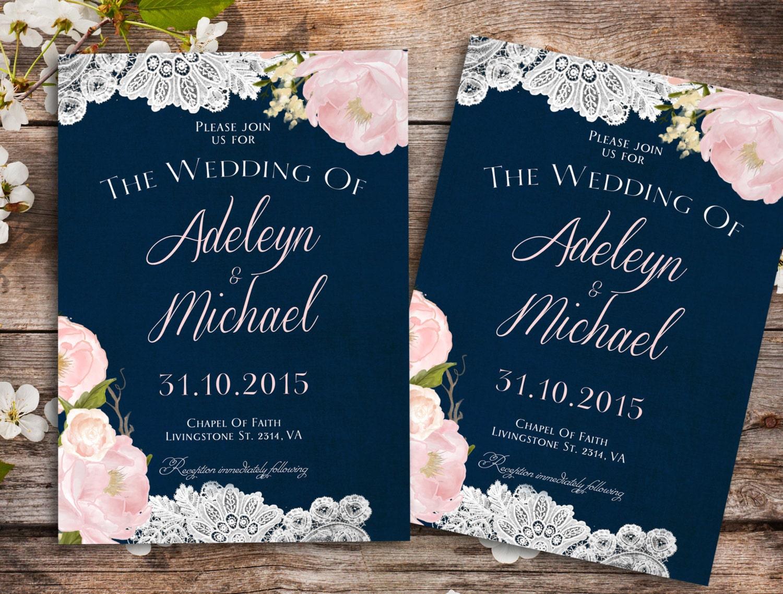 Navy Wedding Invitations: Navy Blue Blush Pink Wedding Invitation Country Wedding