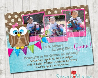 Look Whoos One Owl Birthday Invitation