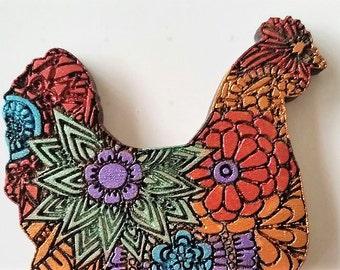 Wooden Zentangled Hen Chicken Brooch