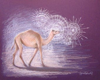 Mandala Artwork Camel Purple White Abstract Realism Desert Nature Animal Spirit Original Artwork Colored Pencil Drawing Watercolor Painting