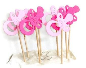 Mixed Pink Pacifier Cupcake Toppers, Food Picks-Set of 12 pcs, 24pcs