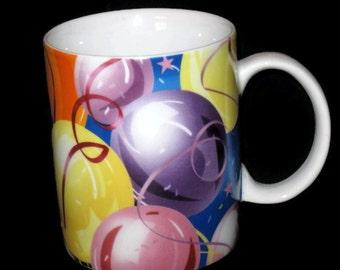 Collectible Balloon Mug, Coffee Mug, Coffee Cup, Mug, Cup, Birthday Gift, Birthday Mug, Birthday Cup, Ribbon and Balloons Mug