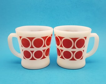 Rare Fire King Red Mugs, Hard to Find Geometric Mugs