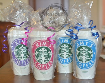 Custom Decals on Reusable Starbucks Cups with Lids - Options for Monogram on Lid or Name Across Side // Personalized Cups, Mother's Day Gift