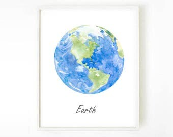 Earth Poster, Earth Print, Earth Painting, Planet Earth, Home Decor, Children Wall Art