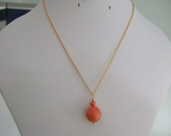 "16"" 14KT Gold Filled Chain Necklace with Large and Small Orange Swarovski Pearl Bead Pendant."