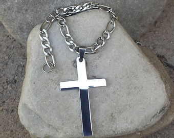 FREE SHIPPING,Men's Cross Necklace, Christian Jewelry, Graduation Gift, Gift For Dad, Stainless Steel Necklace, Large Cross Man Necklace