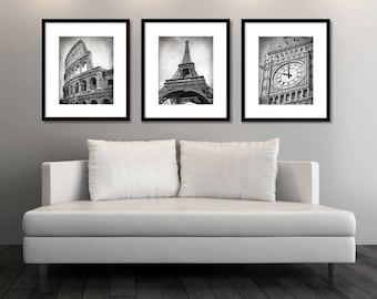 SALE, Set of 3 Prints, Europe Cities, Black and White, Photography, Travel Decor, Rome, Paris, London, Colosseum, Eiffel Tower, Big Ben