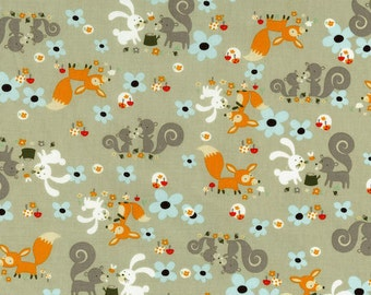 Fox Fabric Squirrel Fabric Little Friends Forest Critters Grey 100% Cotton