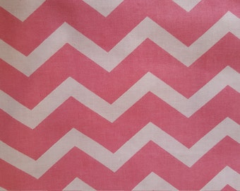 Pink on Pink Chevron Cotton Fabric Nursery Girl Baby
