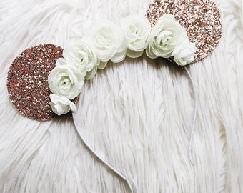 Rose Gold Glitter Floral Minnie Mouse Ears Headband // Sparkle Mouse Ears Flower Crown