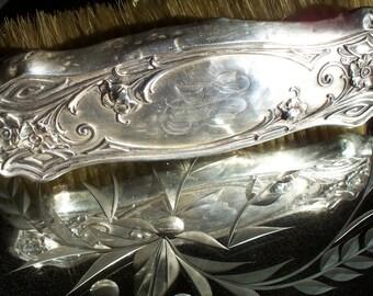 Art Nouveau Antique Webster Sterling Scrolling Repousse Floral Boudoir Brush Circa Late 1800's RARE
