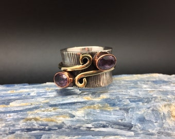 Amethyst Ring // 925 Sterling Silver with Rose Gold Accent // Etched Oxidized Swirl Setting // 2 Tone Amethyst Ring // Amethyst Ring