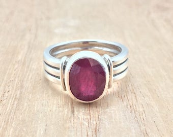 Ruby Ring // 925 Sterling Silver // Oxidized Triple Band Setting // Natural Red Ruby Ring // Size 8