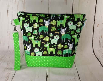 Medium Knitting Project Bag, Lucky Irish Dogs, Medium Zippered Wedge Bag, Zipper Bag, Shawl Project Bag St. Patricks Day Bag WM0008