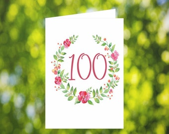 100th Birthday Card Download: Flower Wreath Birthday Card - Pink - Digital Download - Downloadable Card - Birthday Card for Her