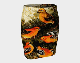 Orange Birds A-Line Clothes S-M-L-XL Wearable Art/Clothing/Women/Skirts
