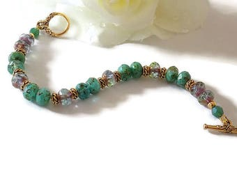 Green Turquoise Bracelet Turquoise Beaded Bracelet Turquoise Aqua Bracelet Beaded Women Bracelet