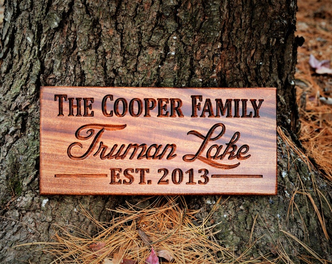 Outdoor Wood Sign Custom Wood Signs Outdoor Lake Name Sign Last Name Establish Sign Family Name Sign Established Personalized Family Name