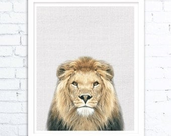 Affordable Father's Day gifts, Lion Decor Print ,Lion Art, Lion Art Print,Animal Printable Lion, Safari  Art Print, Animal Art Print