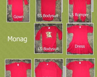 PHOTOS of Monag T-shirts, Onesie, Romper, Gowns, Dress Styles  And Size Charts    DO NOT purchase this listing
