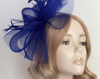 ROYAL BLUE FASCINATOR, Made with Crin,, biot feathers, on 3mm Matching covered headband