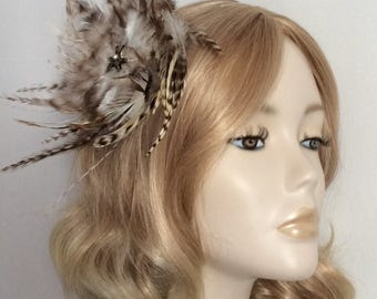 BROWN and NATURAL FEATHER Fascinator, With hackle feathers, bronzed  detail, on clip