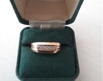 Vintage men's diamond and gold ring