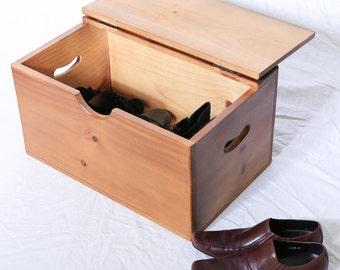 Storage Box - Wooden - Medium - Flat Top - Hinged Lid - Versatile storage for the home
