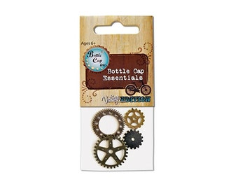 4 Bottle Cap Gears Scrapbooking Jewelry-Making Steampunk Vintage Card-Making Accents Cogs Beads Charms Wheels Watch Clock Parts