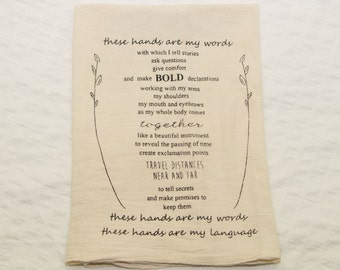 Natural Eco-Friendly Flour Sack Towel w ASL Quote