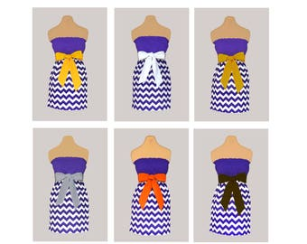 Pack of 6 Purple Chevron Dresses - Any Combination of Sash Colors