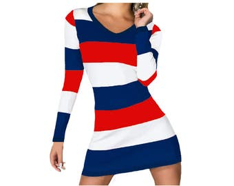 Red + Navy Stripe Spirit Dress