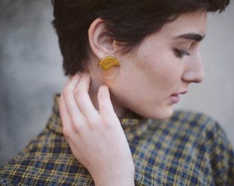 Transparent  Earrings / Golden Paint Earrings
