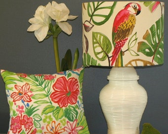 Extra Large Australian Made Lamp Shade Tropical Parrot Toile, 2 Fittings, 2 Sizes, Made to Order 1-2 week