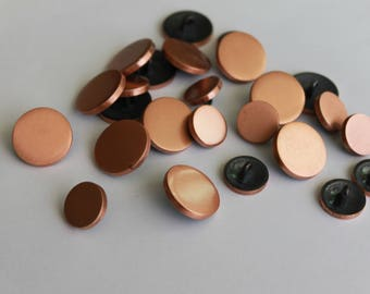 Copper color Metal buttons, 25 assorted medium large metal shank buttons