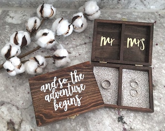 Personalized Wedding Ring Box - Mr. and Mrs. - Ring Bearer Box - Double Ring Box - Rustic Wedding Decor - Hand Painted Wood Box