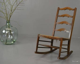 Rustic Country Ladderback Rush Rocking Chair