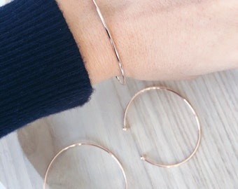 Simple Bangle open semi - 750 rose gold plated / gold plated bangle