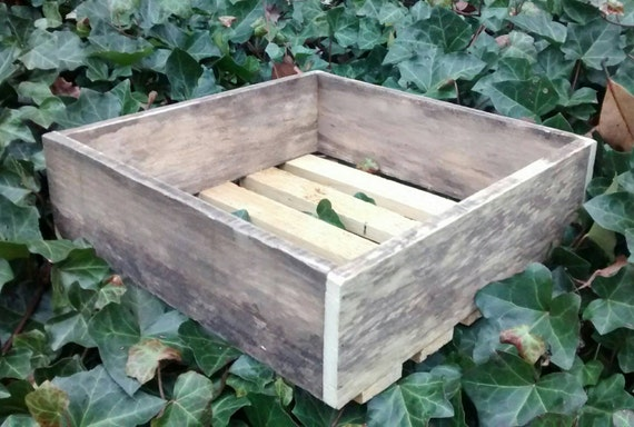 "Weathered Reclaimed Wood Crate, 12"" x 12"" x 4"", Ships next day, wall shelf, repurposed wood box, wood storage box, decorative tabletop box"