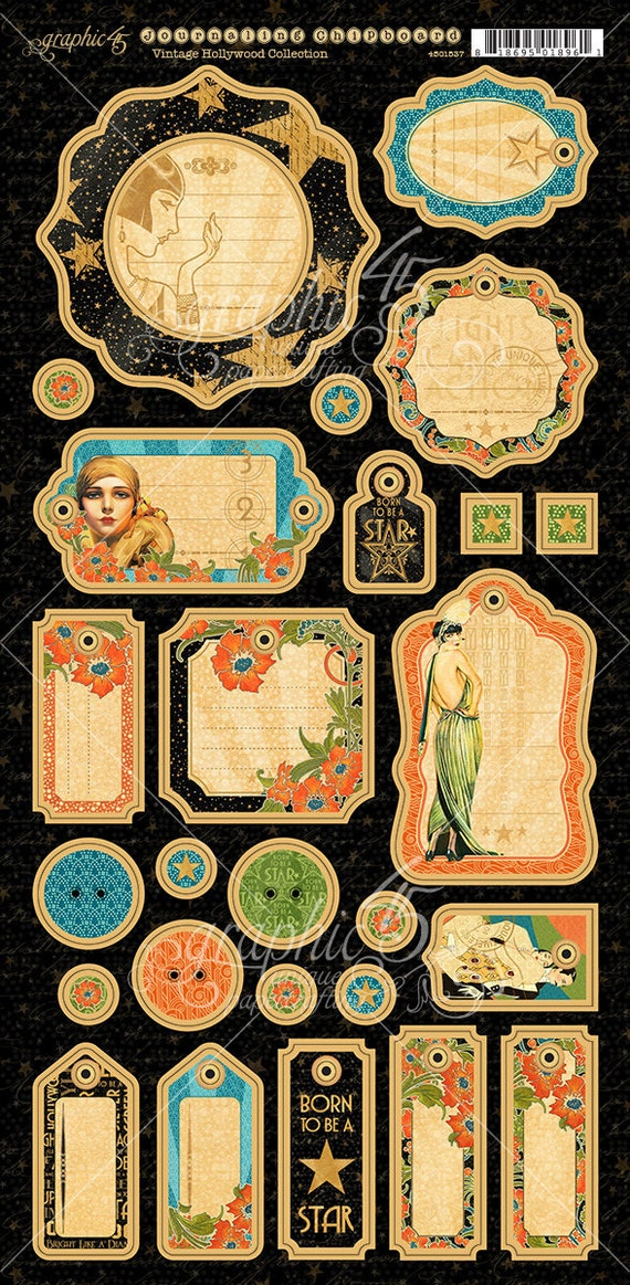 NEW! Graphic 45 Vintage Hollywood Journaling Chipboard, SC007710