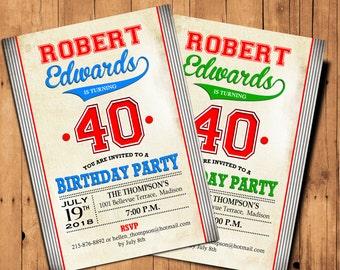 40th Birthday Invitation / 30th / 50th / 60th / 70th / 80th / 90th / Men Invite / Digital Printable Invitation / Customized