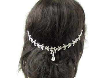 Silver Bridal Headpiece Hair Vine Headband Diamante Rhinestone Wedding Vtg 2327